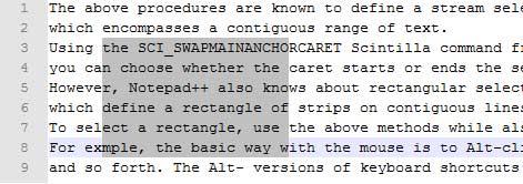 انتخاب متن در برنامه Notepad++