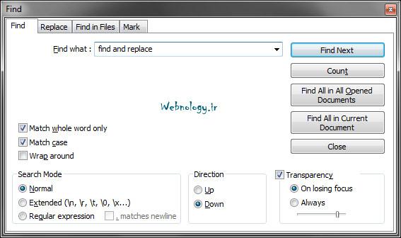 پنجره جستوجوی معمولی در Notepad++