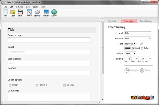 تنظیمات عناصر مختلف فرم در Web Form Builder