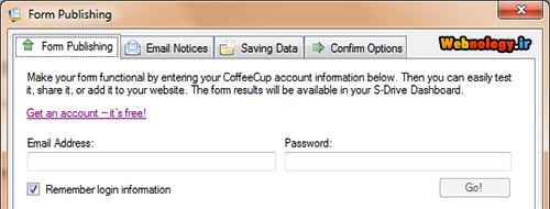تنظیمات انتشار فرم روی سرور نرم افزار