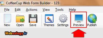 دیدن پیش نمایش فرم در Web Form Builder