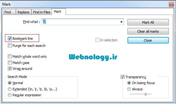 پاک کردن کل توضیحات کد یک فایل در notepad++