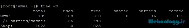 دستور free جهت رصد حافظۀ RAM