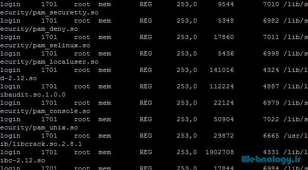 دستور lsof جهت فهرست کردن پروندههای باز