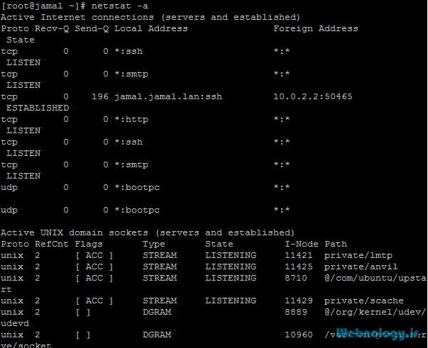 دستور netstat جهت نمایش وضعیت شبکه