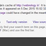 تاریخ نسخه Cache سایت در Google از نظر سئو
