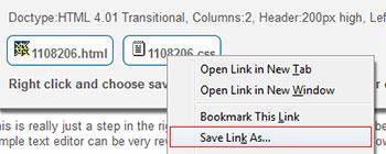 دانلود صفحه وب ساخته شده Save Target As...