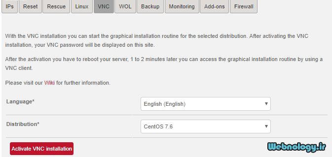 نصب سیستم عامل از طریق VNC