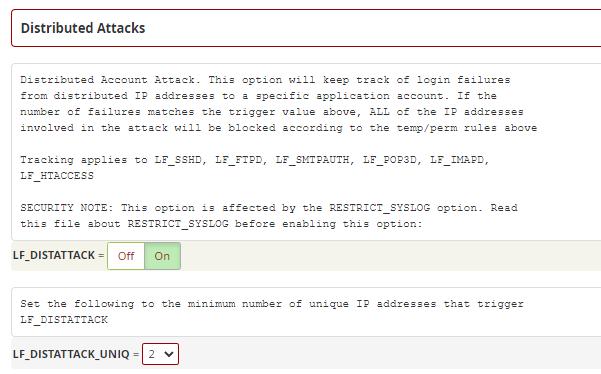 تنظیمات Distributed Attack در CSF