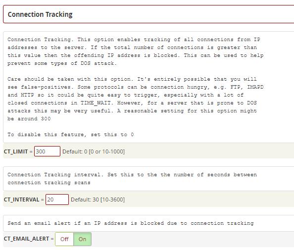 تنظیمات Connection Tracking در CSF